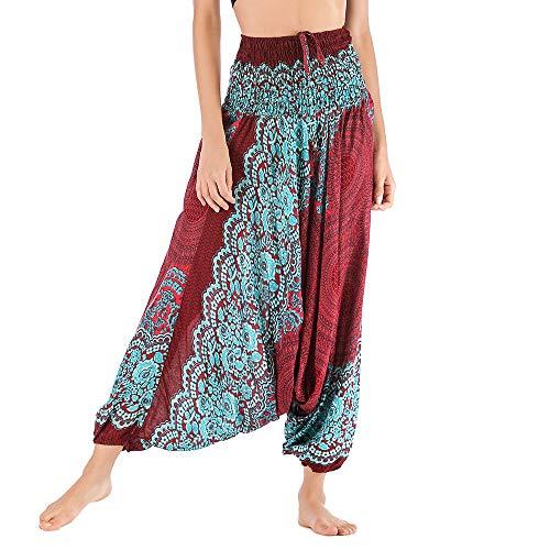 Harem Pants Women's Hippie Bohemian Yoga Pants One Size Aladdin Harem Hippie Pants Jumpsuit Smocked Waist 2 in 1 (Free, Wine) by BingYELH Yoga (Image #1)
