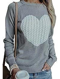 NANYUAYA Womens Heart Print Sweater Fall Long Sleeve Knit Pullover Tops