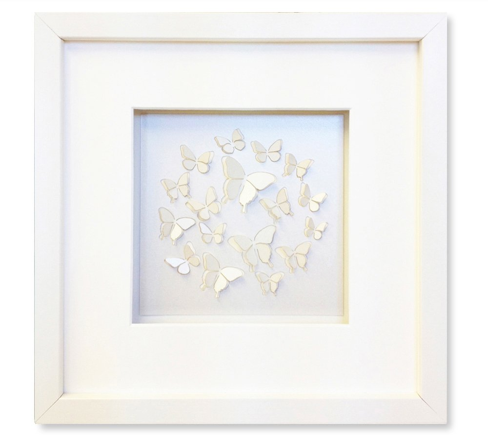 Shabby Chic Small 3D Butterfly Pearl White Box Framed Art Picture 'Circle'  Gift: Amazon.co.uk: Kitchen & Home