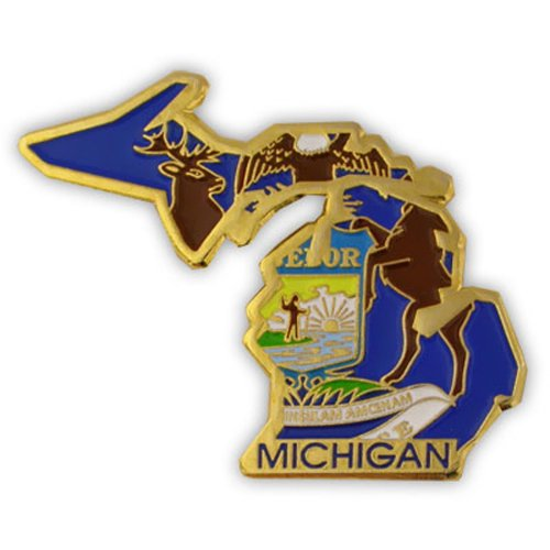 PinMart's State Shape of Michigan and Michigan Flag Lapel (State Lapel Pins)
