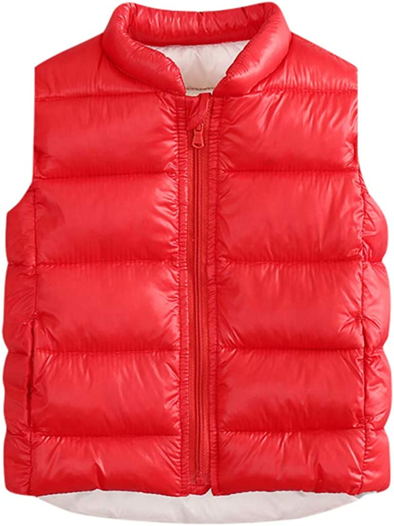 Toddler Little Kids Baby Solid Warm Sleeveless Waistcoat Jacket Outwear Down Coat WOCACHI Girls Boys Puffer Vest