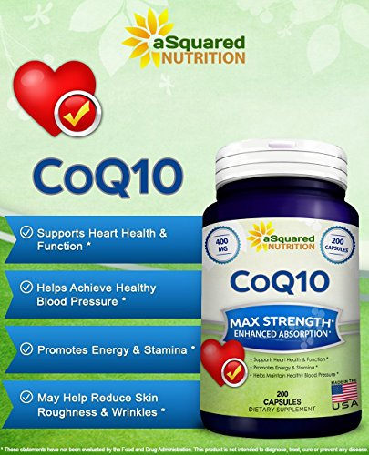 Pure CoQ10 400mg Max Strength 200 Capsules - High Absorption Coenzyme Q10 Ubiquinone Supplement Pills Extra Antioxidant CO Q-10 Enzyme Vitamin Tablets COQ 10 for Healthy Blood Pressure amp Heart Discount
