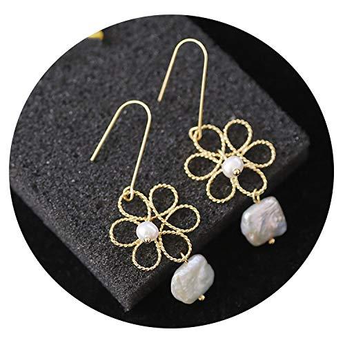 Original Design Long Dangle Earrings For Women Natural Fresh Water Baroque Gray Pearl Drop Earring Brincos B