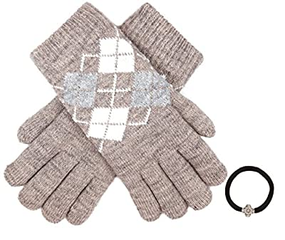 Women's Winter Warm Soft Knitted Double Layer Gloves Faux Fur Lining with Hair Tie