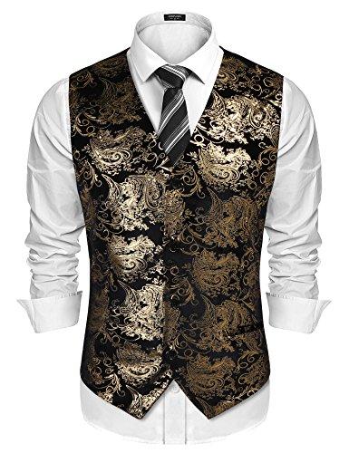 JINIDU Mens Classic Paisley Floral Waistcoat Fashion Suit Vest/Tuxedo (Western Down Vest)