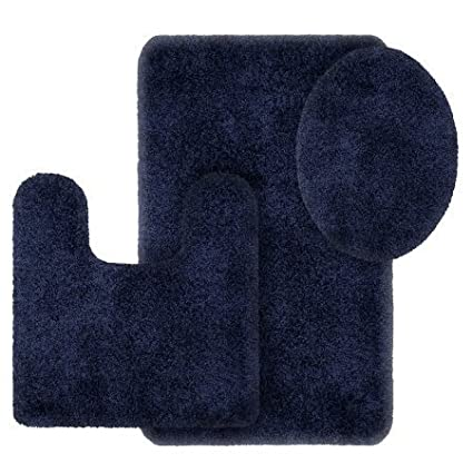 Better Homes And Gardens Thick And Plush 3 Piece Bath Rug Set, Blue Admiral