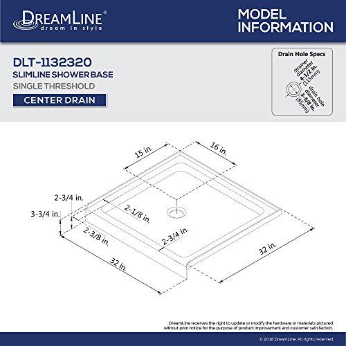 DreamLine SlimLine 32 in. D x 32 in. W x 2 3/4 in. H Center Drain Single Threshold Shower Base in White