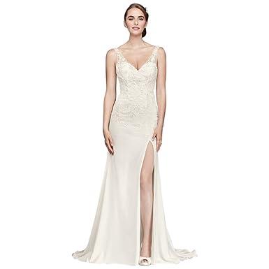 eb5097321eda3 Lace Appliqued Stretch Crepe Sheath Wedding Dress Style WG3874 at Amazon  Women's Clothing store: