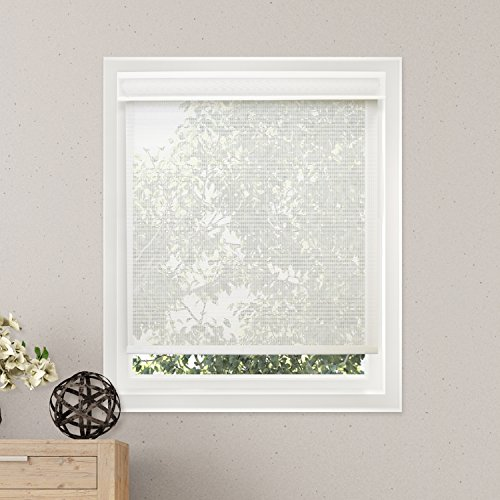 Chicology Free-Stop Cordless Roller Shades, No Tug UV Ray Blocking Window Blind, Cloud White (Solar) - 36