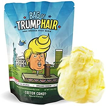 Bag of Trump Hair| 3X More Cotton Candy (Organic Sugar, Natural Flavoring, Gluten Free) | Funny Bipartisan Donald Trump Gag Gift for Friends, Moms, Dads, Grads, Birthday Boys or Girls | 3 Ounces