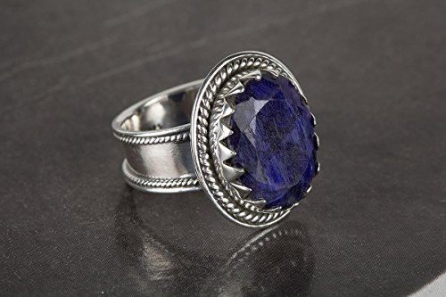 Sapphire Ring, 925 Sterling Silver, Blue Color Gemstone Ring, Custom Ring, September Birthstone Ring, Antique Style Ring, Artisan Ring, Kyanite Ring, Bridesmaid Jewelry, US Ring Size 3-15 (Standard) by Handmadejewelry