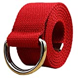 WUAI Canvas Belt Adjustable Belts No Buckle Tactical Breathable Military Waistband Belts(Red,One Size)