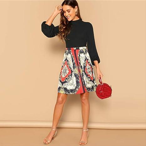 YISQING Falda Plisada con Estampado de Bufanda Multicolor Falda ...