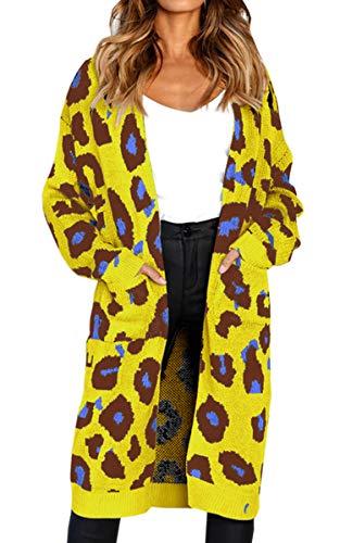 Angashion Women's Long Sleeves Leopard Print Knitting Cardig