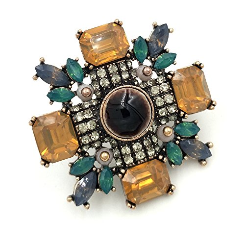- DREAMLANDSALES Victorian Antique Yellow Crystal Burst Star Brooches Gold Tone