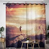 VIVIDX Simple Curtains,Adventure Traveler Woman with Backpack on Mountain Surveying Sunset Adventure Photo