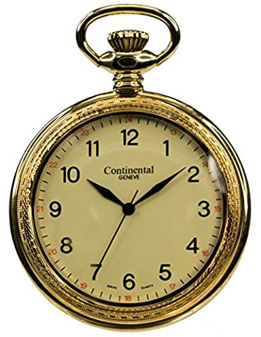 Continental Geneve Gold Tone Open-Back Pocket Watch (Geneva See Through Watch)