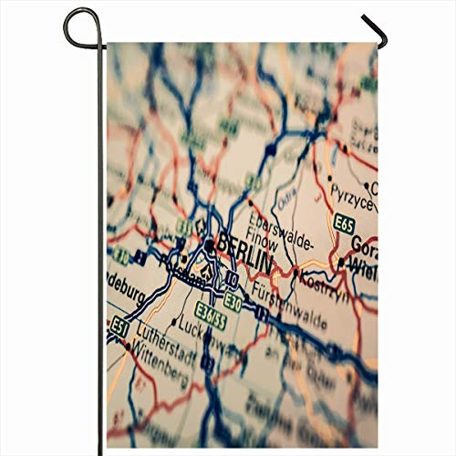 Ahawoso Seasonal Garden Flag 12x18 Inches Capital Atlas Berl Map Airport International Cartography City Close Closeup Design Home Decorative Outdoor Double Sided House Yard Sign