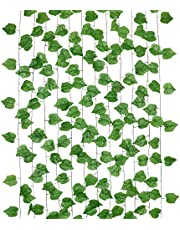 Dedoot Ivy Garland, 12pcs 98 Inch Each Ivy Fake Greenery Vine Leaves Garland Artificial Poison Ivy Leaves Hanging for Craft Wedding Party Wall and Home Decoration