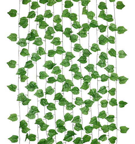 Dedoot Ivy Garland, 12pcs 98 Inch Each Ivy Fake Greenery Vine Leaves Garland Artificial Poison Ivy Leaves Hanging for…
