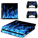 You loving blue fire Vinly Skin Sticker for PS4 System Playstation 4 Console with 2 Controller Skins by You Loving