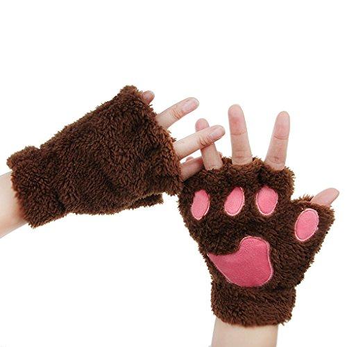 FakeFace Kitten Fingerless Plush Gloves