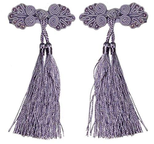 Lucore Chinese Ribbon Girls Hairpins, 2 PC Knot & Tassel Princess Mini Costume Hat & Hair Decoration (Purple) -