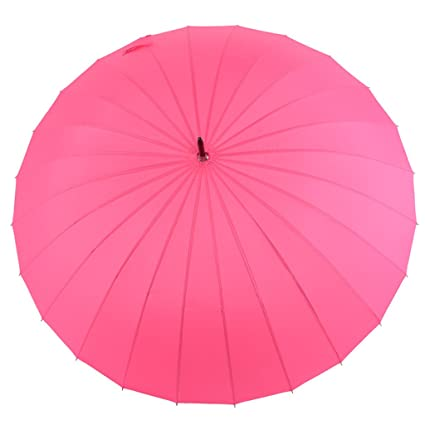 Paraguas Umbrella Long Handle 24 Hueso Increase Clear Rain Umbrella Straight Umbrella (Color : Rosa