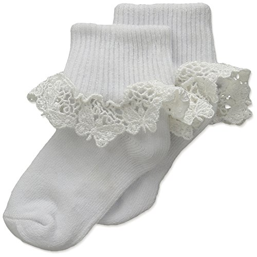 Country Kids Baby Girls' Butterfly Lace 1 Pair Pack, White, 12-24 Months (Sock Size 5-6 / Shoe Size 3-7)