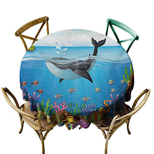 - Wendell Joshua Outdoor Tablecloth 50 inch Whale,A Massive Whale The Master of The Oceans Themed Around Planet Nature,Dark Blue Black and Orange 100% Polyester Spillproof Tablecloths
