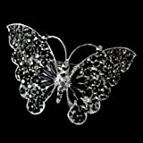 Marlena Silver Black Rhinestone Butterfly Wedding Bridal Barrette - Special Occasion, Prom, Party