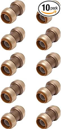 """1/"""" Sharkbite Style 10 Push to Connect Lead-Free Brass Couplings Push-Fit"""