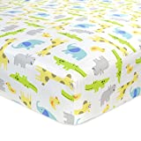 Best Carter's Baby Crib Sheets - Carter's Cotton Fitted Crib Sheet, Critter/Green/Yellow/Grey/White Review