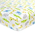 Carter's Cotton Fitted Crib Sheet, Critter/Green/Yellow/Grey/White