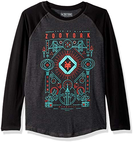 - Zoo York Boys' Big Long Sleeve Raglan TEE, Black Heather, Small (8)