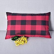 Natus Weaver Red & Black Buffalo Check Plaid Throw Pillow Cover Decorative Cushion Shams Pillowcase for Home Decor,12 x 20