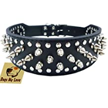 "17""-20"" Black Leather Spiked Studded Dog Collar 2"" Wide, 31 Spikes 52 Studs, Pit Bull, Boxer"