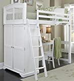 NE Kids Loft Bed with Desk in White