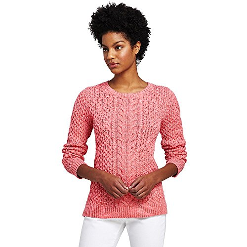 Lands' End Women's Petite Drifter Marl Cotton Cable Sweater, XS, Rosy Peach Marl Marl Cable