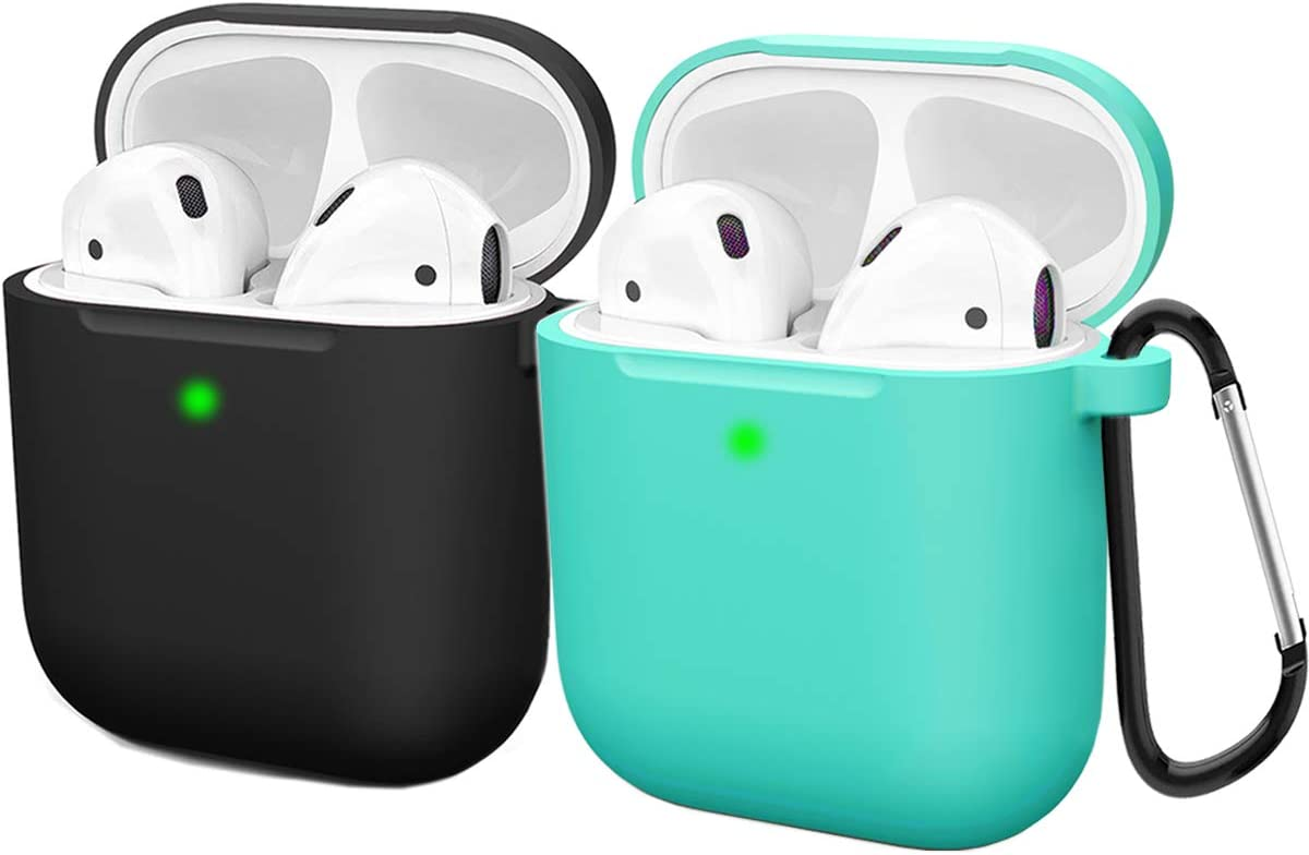 Compatible AirPods Case Cover Silicone Protective Skin for Apple Airpod Case 2&1 (2 Pack) Black/Turquoise
