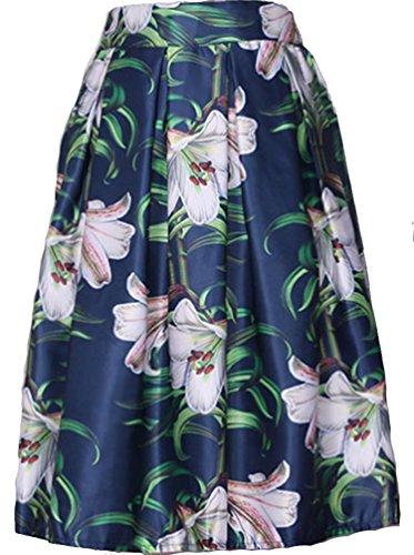 Helan femmes Taille haute ebouriffer de cru floral jupe Orchid Bleu