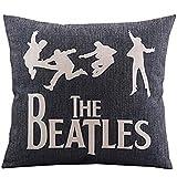 "Createforlife Cotton Linen Decorative Throw Pillow Case Cushion Cover the Beatles Music Black Square 18"""