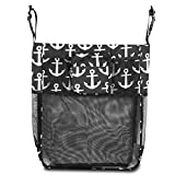 Zodaca Stroller Organizer Bag, Black/White Anchors