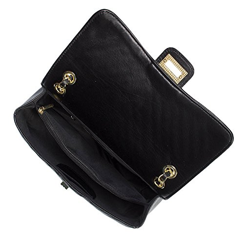 shoulder smooth body leather and Black SINDY Light leather metal cross quilted Gold Medium chevron clutch purse soft quilted Italian chain g7nSI