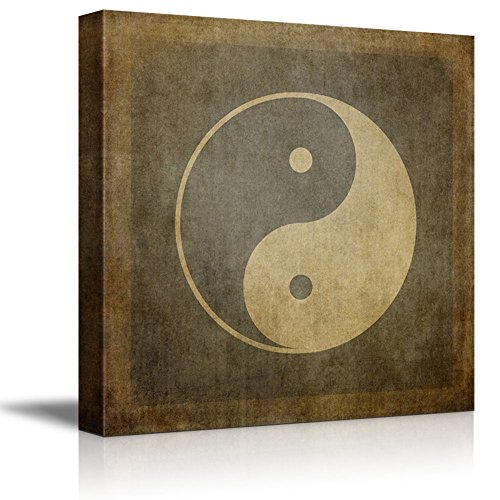 (Canvas Prints Wall Art - Yin Yang Symbol on Vintage, Textured Background - 24