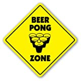 BEER PONG ZONE Sign table drinking game ping balls