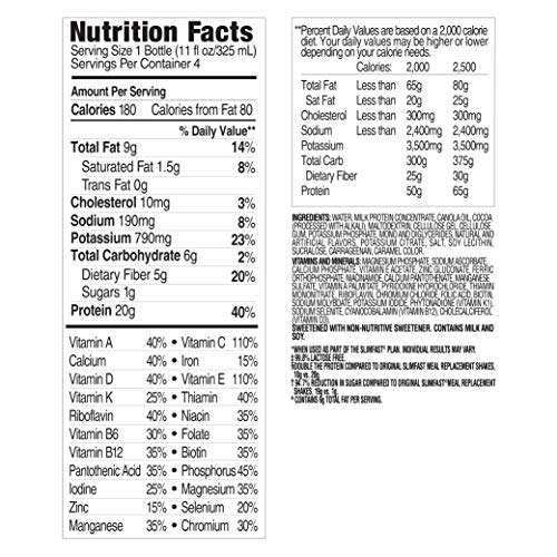 SlimFast Advanced Nutrition Creamy Chocolate Shake Ready To Drink Meal Replacement 20g Of Protein 11 Fl Oz Bottle 12 Count