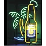 Corona Extra Bottle Palm Tree Handcraft Real Glass Display Neon Light Signs19x15