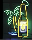 Free Shipping!Super Bright! New Corona Extra Bottle Palm Tree Sign Handcrafted Real Glass Neon Light Sign Home Beer Bar Pub Recreation Room Game Room Windows Garage Wall Sign 19x15 inches