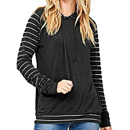 Esharing Women's Casual Stripe Patchwork Top Blouse Hooded Long Sleeve T-Shirts,S-2XL